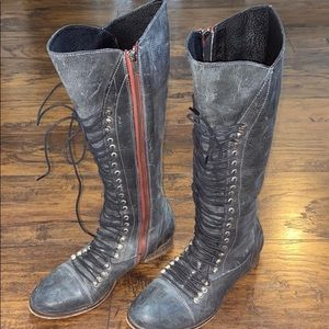 Steve Madden blue leather zip & lace up boots 9.5